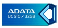 Adata UC510 32Gb flash drive metalic bLue COB design with water-resistant capless design with strap hole 28x12x5mm 3 grams weight compact design read/write : support Linux Mac OS support free OStoGO U Photo