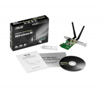 Asus PCE-N15 wireless-N300 piecesI-E adapter 802.11b/g/n 300Mbps support software AP with WPS button 64/128bit WEP WPA2 dual detachable RP-SMA antennas - with extra low-profile pci bracket - 3 years w Photo