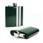 tuff luv modern style stainless steel hip flask greenwhite liquor