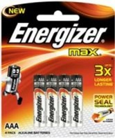 energizer max alkaline aaa 15v 4 pack battery
