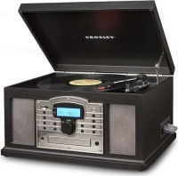 crosley troubadour wooden entertainment center with media player accessory