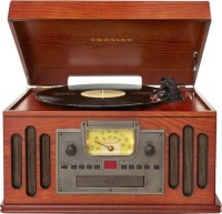 crosley musician wooden entertainment center with turntable media player accessory