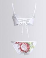 thehive hand painted protea cupped bikini set white swimwear
