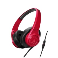 audio technica sonicfuel headphones with remote and mic red