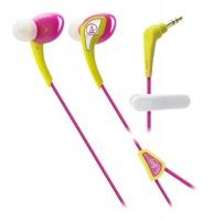 audio technica sonicsport in ear headphones yellow and pink
