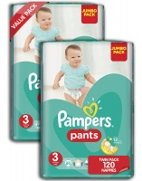 Pampers Active Baby Nappy Pants Size 3 Twin Jumbo Pack