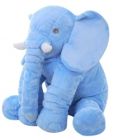 Stuffed Elephant Plush Pillow Blue