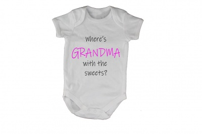 Photo of Where's Grandma with the Sweets? Baby Grow - White