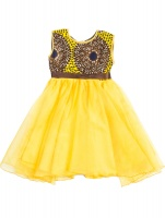 bertina girls dress yellow and brown