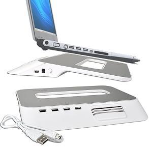 """Photo of Choiix - Mini Air-Through Notebook Cooling Pad 10"""" with USB HUB - White & Silver"""