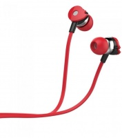 eb280 wired stereo earphones with in line mic red