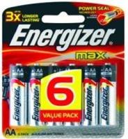energizer max alkaline aa 15v 6 pack battery