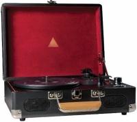 elyxr revolution vinyl player and burgundy media player accessory