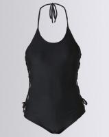 lu may tankini set side detail on top black swimwear