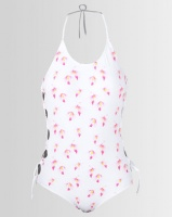 lu may tankini set side detail on top white print swimwear