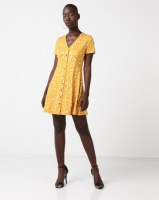new look floral soft touch button through dress yellow dress
