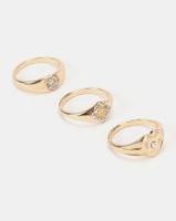 new look 3 pack diamante signet rings gold jewellery set