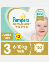 pampers premium care midi jp 2x80 twin pack nappy