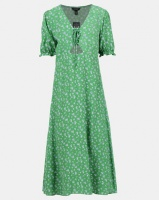 new look ditsy floral lace up midi dress green dress