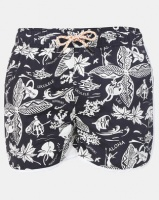 bellfield black hawaiian printed swim short swimwear