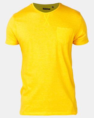 Photo of Brave Soul Crew Neck Pocket T-shirt Gold/Yellow Marl