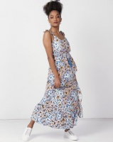 new look print one button maxi blue dress