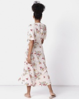 new look floral tie button up midi dress off dress
