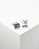 xcalibur cufflinks with pebble detail silver steel cufflink