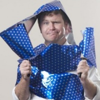 star trek man wrap blue gift wrap
