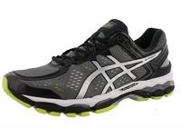 asics mens gel kayano 22 running shoe charcoalsilverlime 9