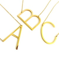 24k gold stainless steel initial letter necklaces choker