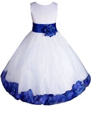 amj dresses inc big girls whiteroyal blue flower pageant