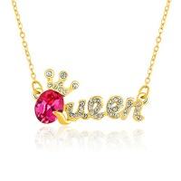 creative crown queen letter shape crystal pendant necklaces