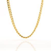 gold cuban link chain 5mm round 24k overlay premium fashion