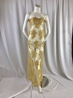 gold flower lace corded and embroider with sequins on a