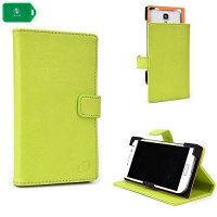green smartphone holder with folding cover stand and camera