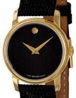 movado swiss mens analog round gold tone watch black