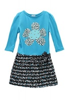swak girls long sleeve aniaml printed dresses turq size 56