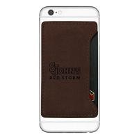 st johns university cell phone card holder brown