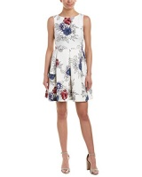taylor dresses womens printed chiffon midi dress blackblue