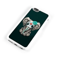 teal blue day of the dead sugar skull baby elephant iphone