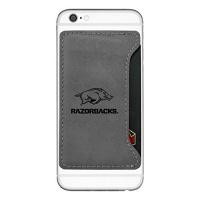 university of arkansas cell phone card holder grey