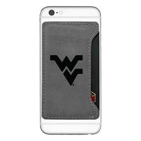 west virginia university cell phone card holder grey