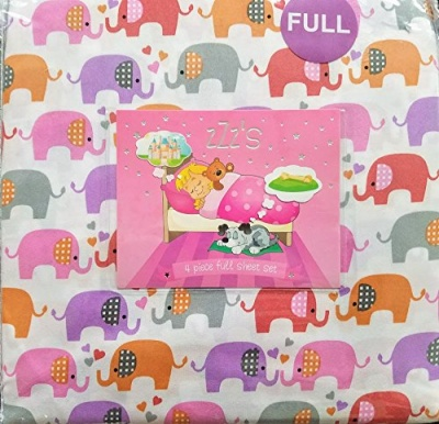 Photo of ZZZs ZZZ's Kissing Elephants Colorful Elephants FULL Sheet Set Pink Orange Purple