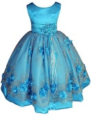 amj dresses inc little girls turquoise flower party dress