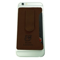 bryant university leatherette cell phone card holder brown