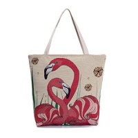 canvas tote bag cute flamingo embroidered jacquard womens