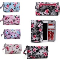 grey cell phone wallet case universal design fits blu