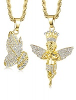 jstyle 2 piecess gold plated necklaces for women men prayer