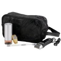large genuine black leather travel kit shaving mens